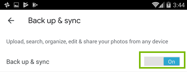 Turning backup and sync on in Google Photos