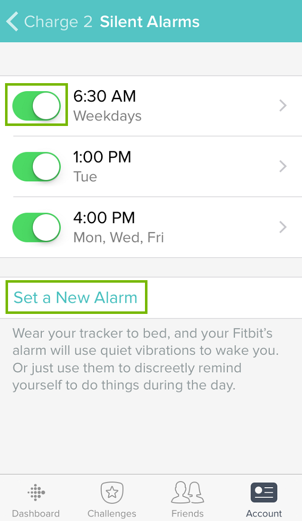 Silent alarm menu with slider and new alarm highlighted. Screenshot