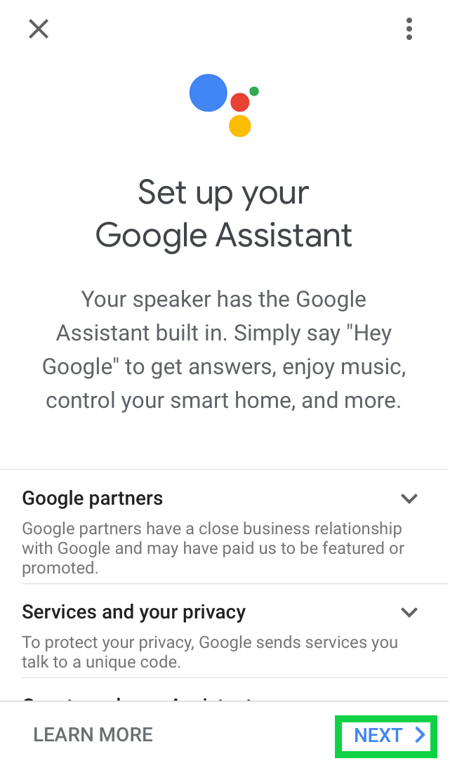 Set up your google assistant page with next highlighted