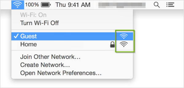Wi-Fi menu with signal strength indicator highlighted.