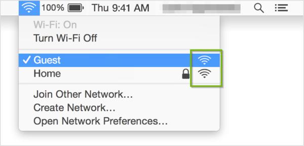 Wi-Fi menu with signal strength indicator highlighted.