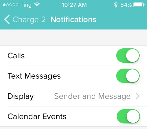 Fitbit App notifications menu. Screenshot