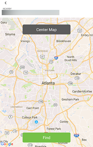 Map view with Find button below. Screenshot.