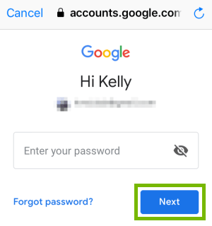Google password page