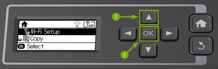 Printer control panel highlighting the up and OK buttons.