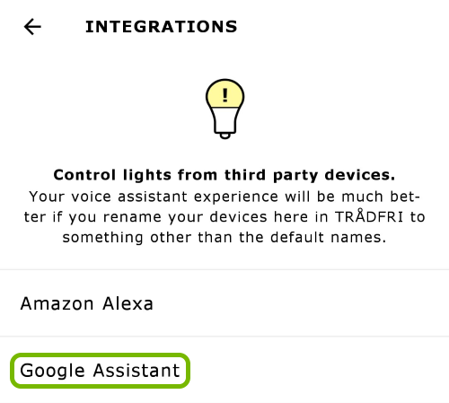 Google Assistant option highlighted in app settings.