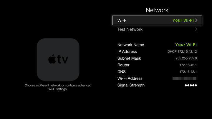 Network connection details screen.