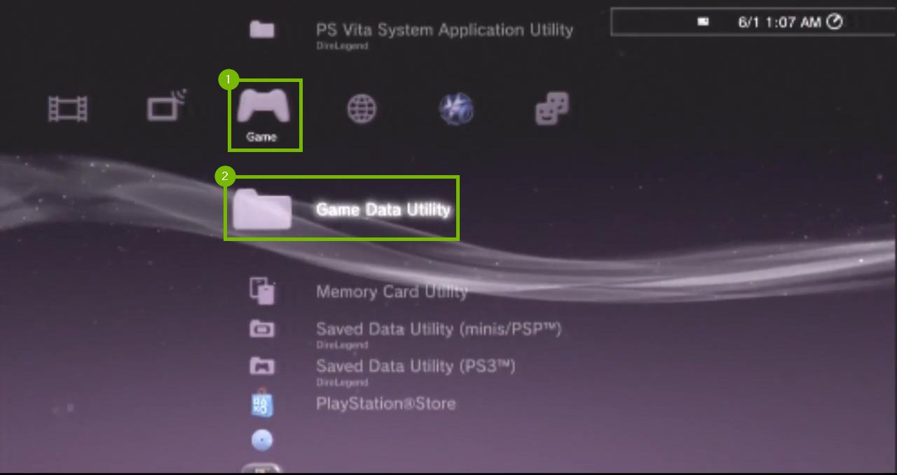 Games menu with Game Data Utility selected. Sreenshot.