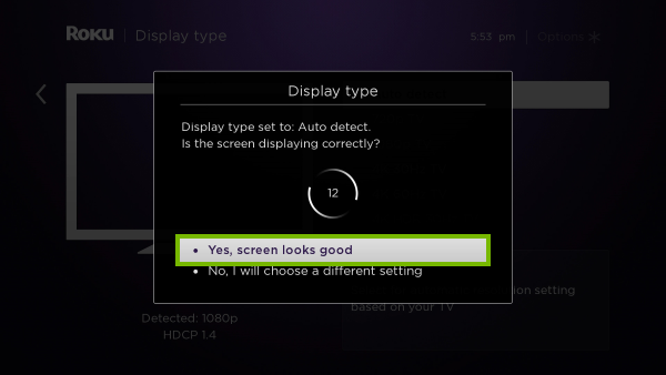 Yes, screen looks good option highlighted on display type detection prompt.