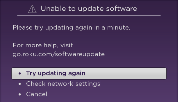 Roku Software Update Error.