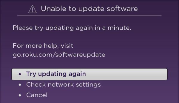 Roku Software Update Error.