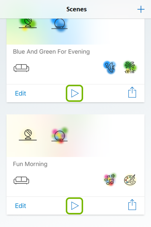Play buttons highlighted in Scenes tab of WiZ app.