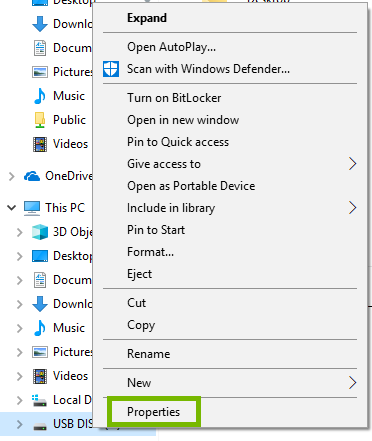 USB Disk Right-Click menu with Properties highlighted.