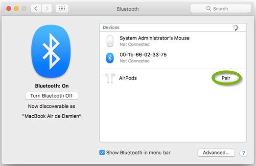 macOS Bluetooth window open highlighing an available AirPods device.