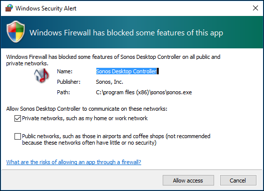 Windows Security Alert pop-up on Windows