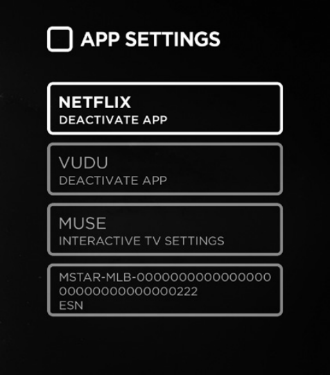 TV app settings menu