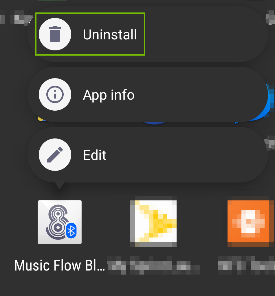 screenshot of app options with uninstall highlighted