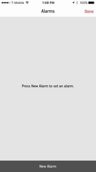 Alarms screen in Sonos Controller for mobile devices