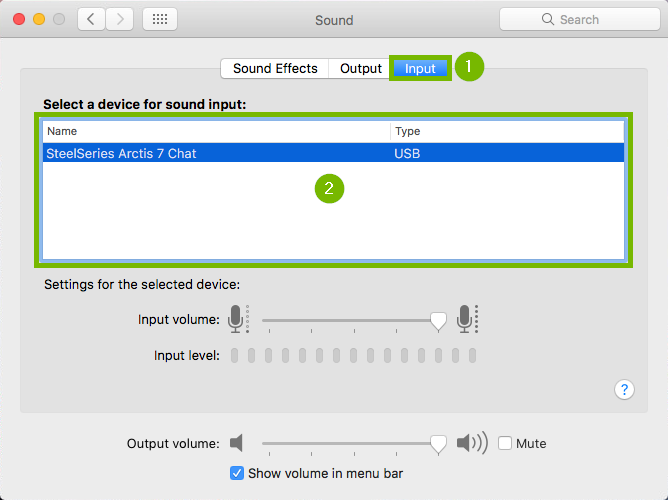 Screenshot of Sound Preferences window and input tab is selected and then input device is highlighted.