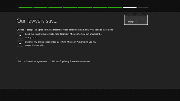 End user agreement with I agree selected. Screenshot.