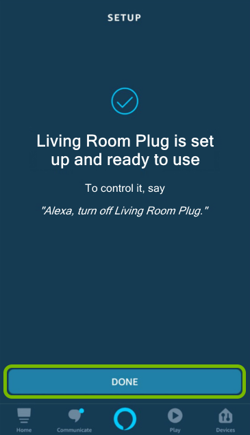 Done button highlighted in Alexa app.