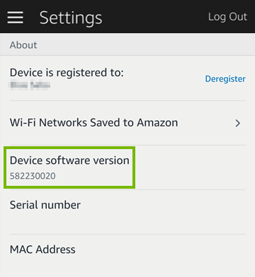 Device software version highlighted in mobile app settings