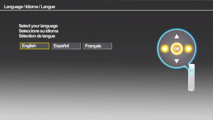 Language selection screen in setup wizard