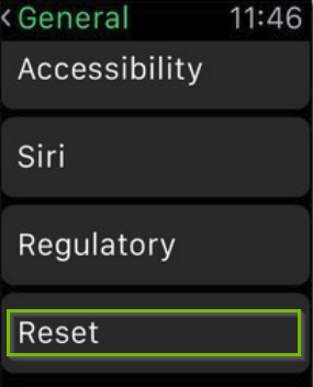 Apple watch general settings screen with reset highlighted.