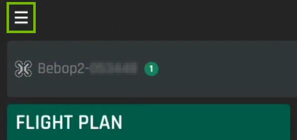 Menu button highlighted in FreeFlight Pro app.