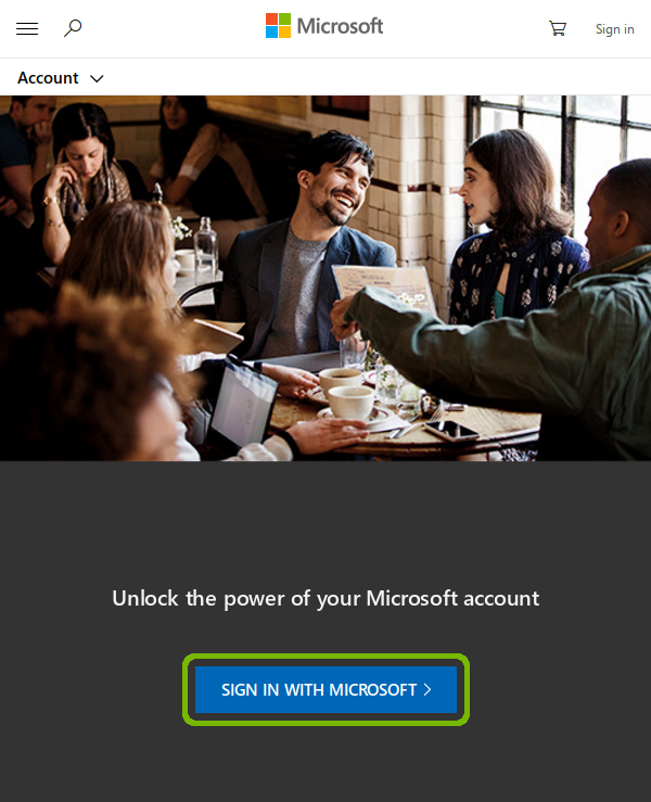 Microsoft account page with Sign in with Microsoft highlighted.