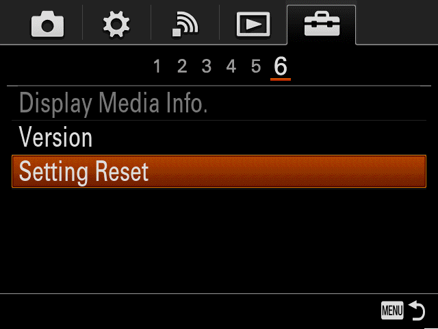 Camera screen with highlighted option
