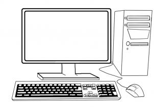computer with keyboard, monitor, and mouse