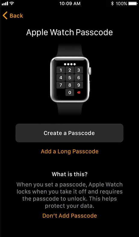 Apple watch app create passcode screen.