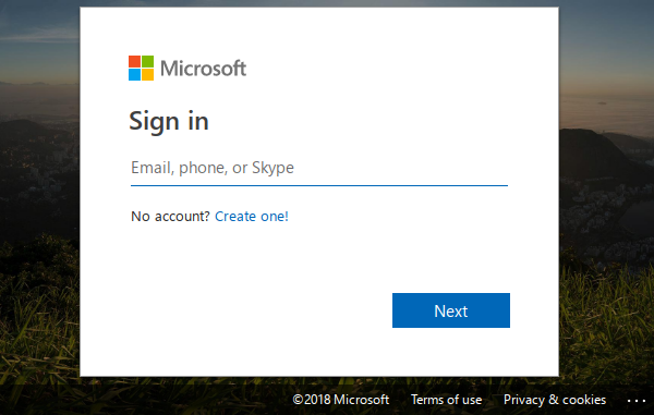 Microsoft sign-in.
