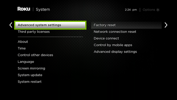 Advanced system settings option highlighted in Roku settings.
