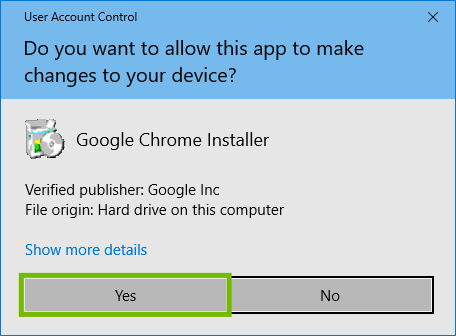 User Account Control with Yes highlighted.