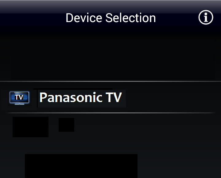 Panasonic TV Remote 2 choose TV. Screenshot