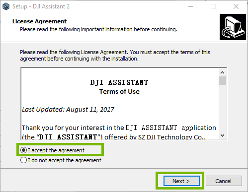 DJI install page with I accept and Next highlighted. Screenshot