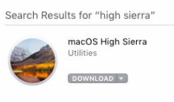 high sierra upgrade item in app store