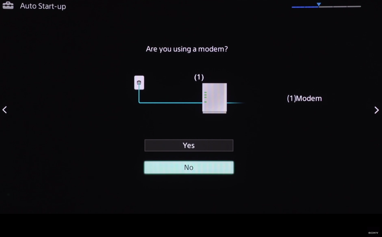 Auto Start-up screen asking are you using a modem