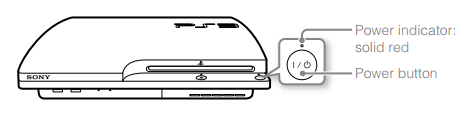 Illustration of PlayStation 3 with power button highlighted