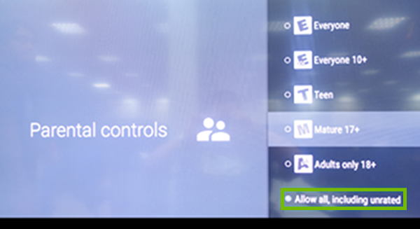 Parental controls with Allow all, including unrated highlighted.