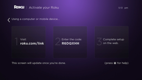 Roku activation instructions on screen.