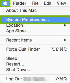 System Preferences highlighted in Apple Menu.