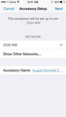 August home app network setup screen displaying the network information the camera will be using