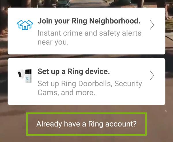 Ring app greeting screen.