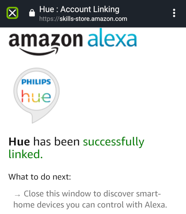 Hue linked successfully with close X highlighted.