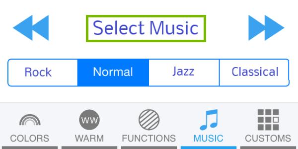 Select Music button highlighted