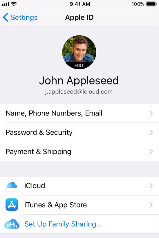 iOS device showing the apple id selected