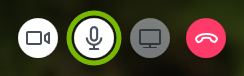 Audio icon highlighted in BlueJeans app.